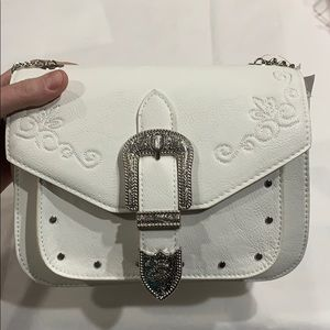 """Icing Bags - White """"Western"""" Convertible Crossbody/Shoulder Bag"""